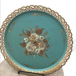 Vintage NASHCO Hand Painted Round Toleware Tray